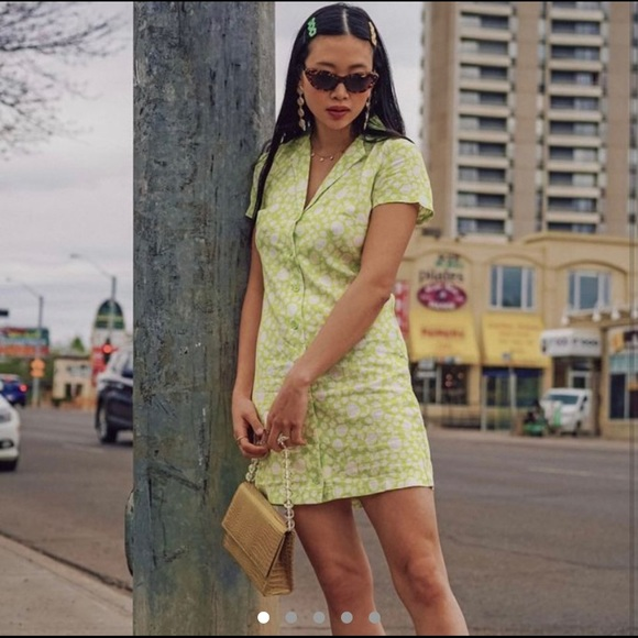 Urban outfitters malou linen button shirt dress
